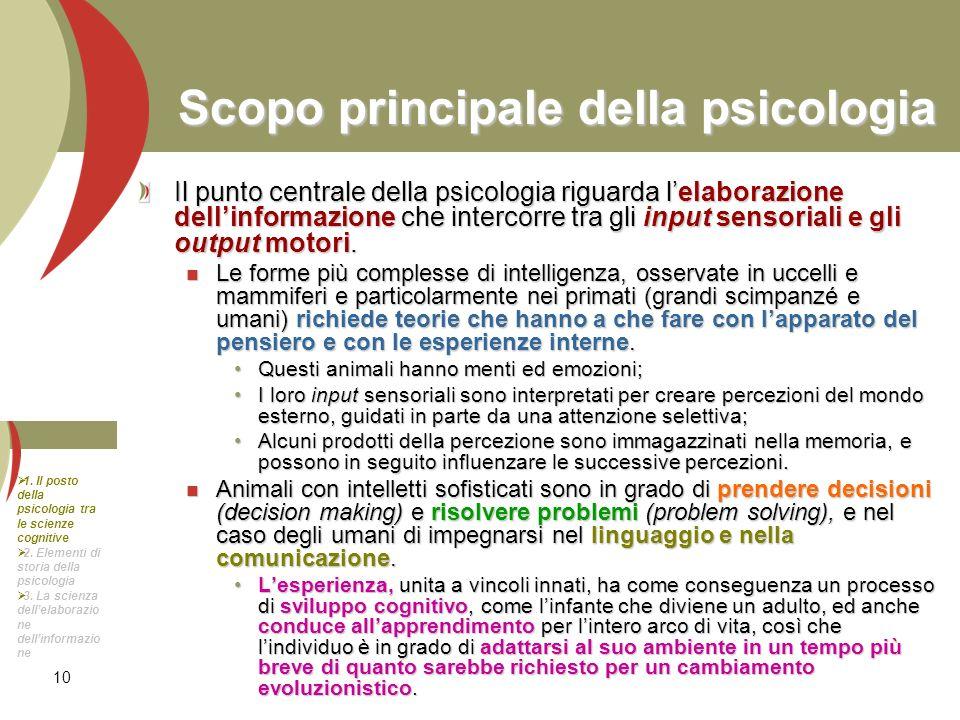10 Scopo principale della psicologia Il punto centrale della psicologia riguarda lelaborazione dellinformazione che intercorre tra gli input sensorial