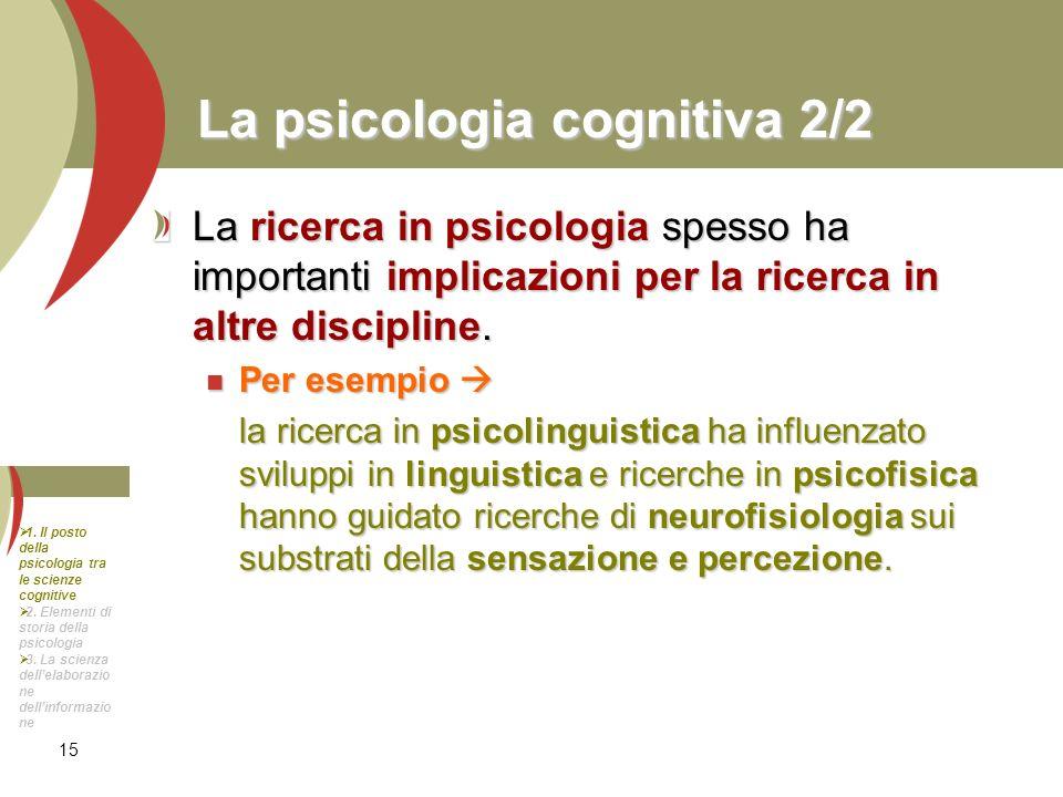 15 La psicologia cognitiva 2/2 La ricerca in psicologia spesso ha importanti implicazioni per la ricerca in altre discipline. Per esempio Per esempio