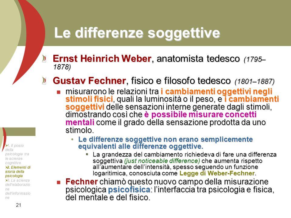 21 Le differenze soggettive Ernst Heinrich Weber, anatomista tedesco (1795– 1878) Gustav Fechner, fisico e filosofo tedesco (1801–1887) misurarono le