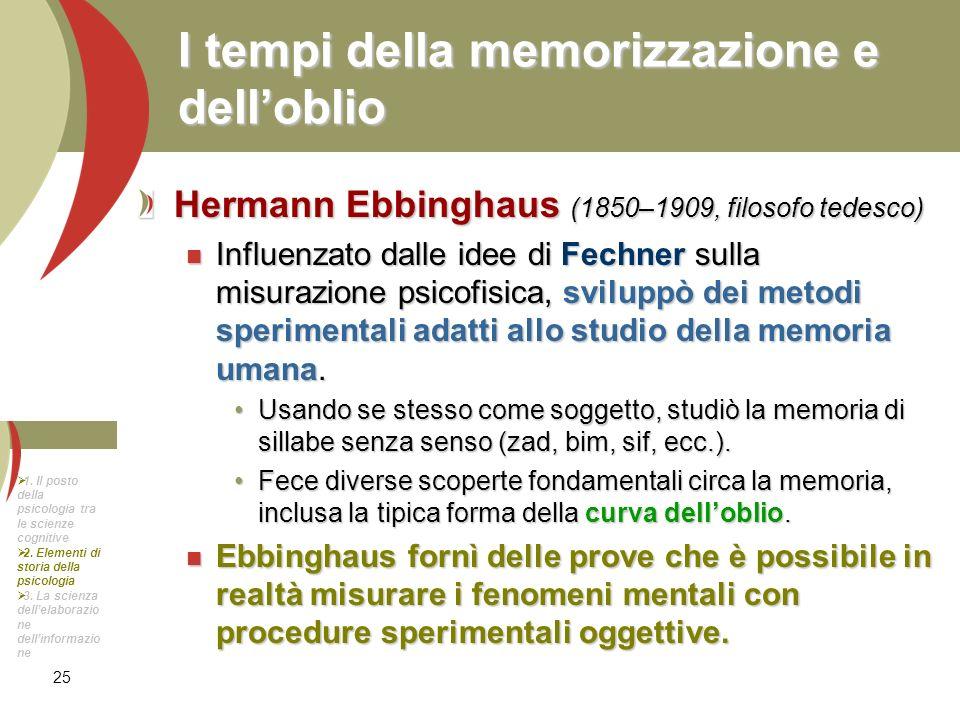 25 I tempi della memorizzazione e delloblio Hermann Ebbinghaus (1850–1909, filosofo tedesco) Influenzato dalle idee di Fechner sulla misurazione psico