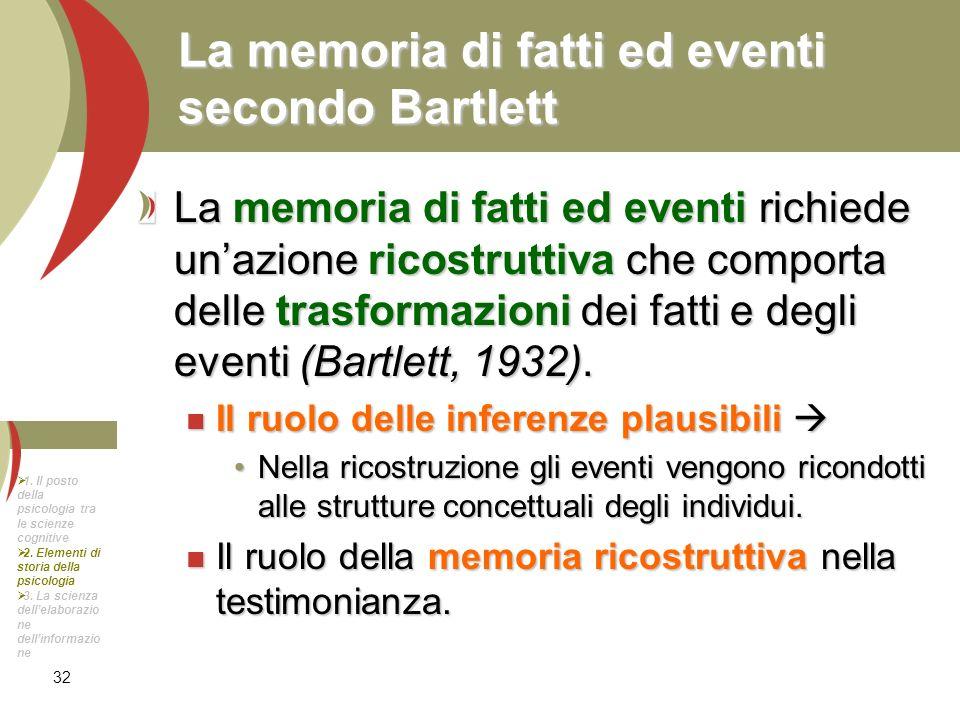 32 La memoria di fatti ed eventi secondo Bartlett La memoria di fatti ed eventi richiede unazione ricostruttiva che comporta delle trasformazioni dei