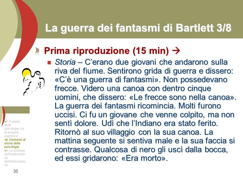 35 La guerra dei fantasmi di Bartlett 3/8 Prima riproduzione (15 min) Prima riproduzione (15 min) Storia – Cerano due giovani che andarono sulla riva