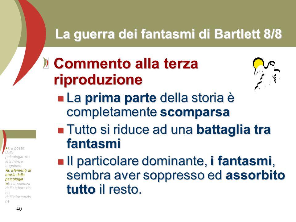 40 La guerra dei fantasmi di Bartlett 8/8 Commento alla terza riproduzione La prima parte della storia è completamente scomparsa La prima parte della