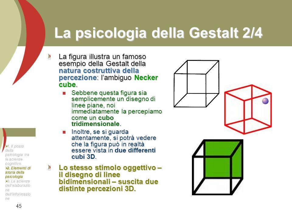 45 La psicologia della Gestalt 2/4 La figura illustra un famoso esempio della Gestalt della natura costruttiva della percezione: lambiguo Necker cube.