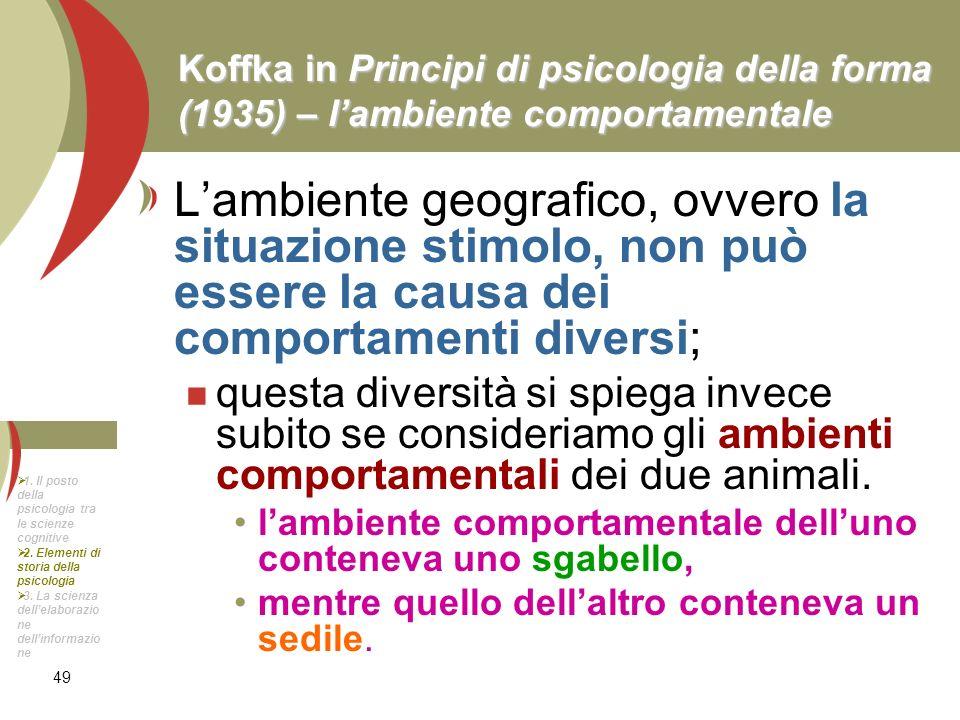 49 Koffka in Principi di psicologia della forma (1935) – lambiente comportamentale Lambiente geografico, ovvero la situazione stimolo, non può essere