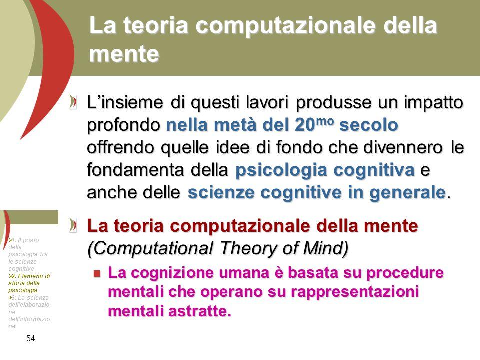 54 La teoria computazionale della mente Linsieme di questi lavori produsse un impatto profondo nella metà del 20 mo secolo offrendo quelle idee di fon