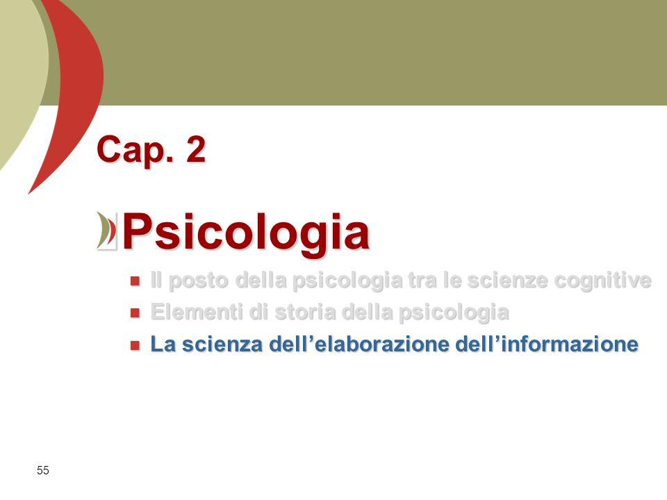 55 Cap. 2 Psicologia Il posto della psicologia tra le scienze cognitive Il posto della psicologia tra le scienze cognitive Elementi di storia della ps