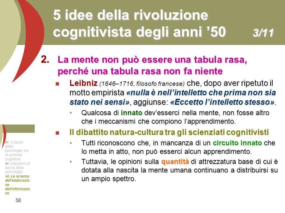 58 5 idee della rivoluzione cognitivista degli anni 50 3/11 2. La mente non può essere una tabula rasa, perché una tabula rasa non fa niente Leibniz c