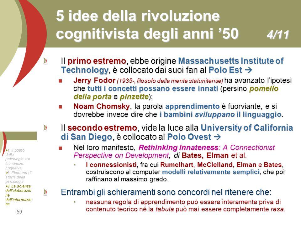 59 5 idee della rivoluzione cognitivista degli anni 50 4/11 Il primo estremo, ebbe origine Massachusetts Institute of Technology, è collocato dai suoi