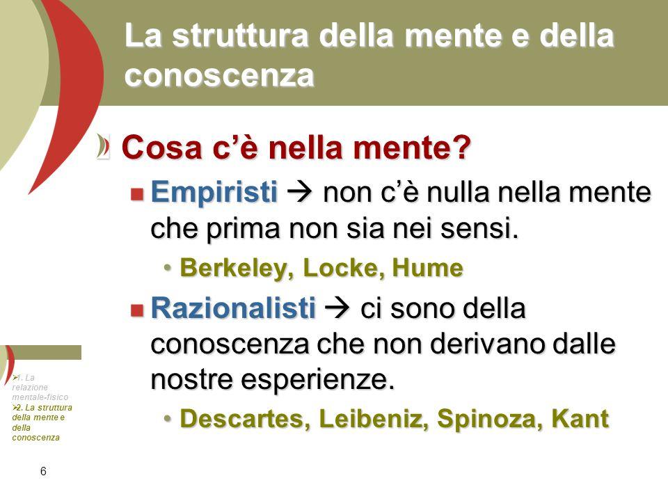 6 La struttura della mente e della conoscenza Cosa cè nella mente? Empiristi non cè nulla nella mente che prima non sia nei sensi. Empiristi non cè nu
