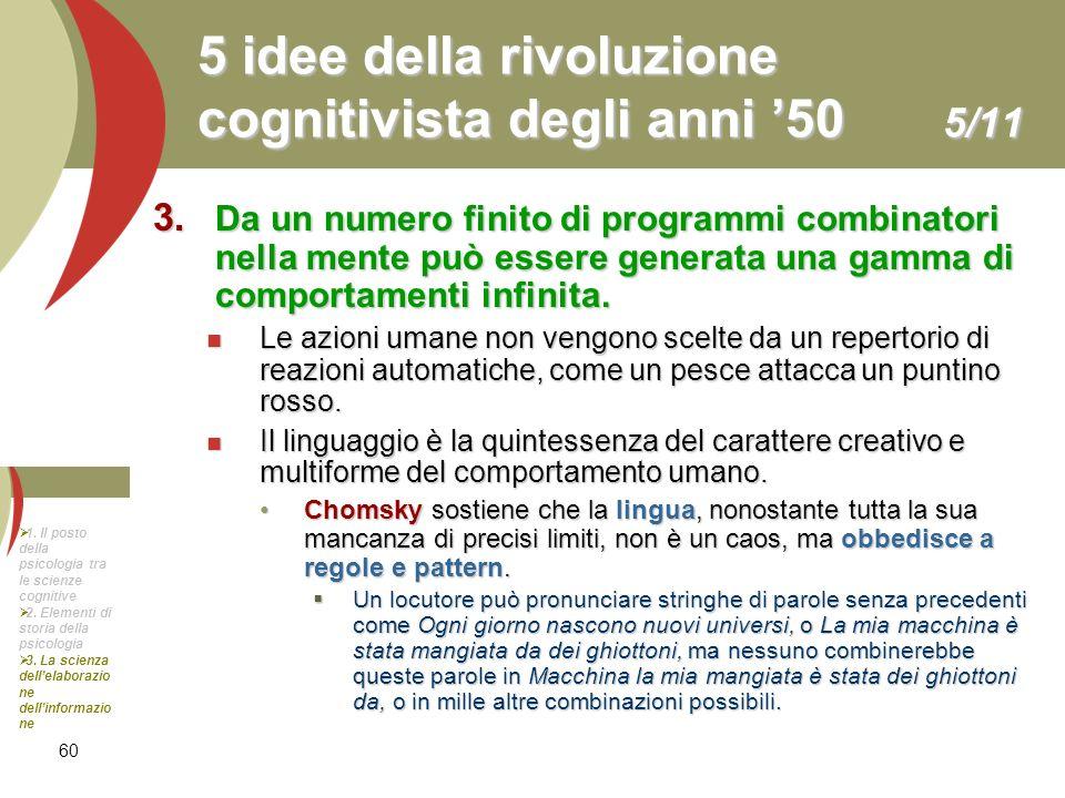 60 5 idee della rivoluzione cognitivista degli anni 50 5/11 3. Da un numero finito di programmi combinatori nella mente può essere generata una gamma