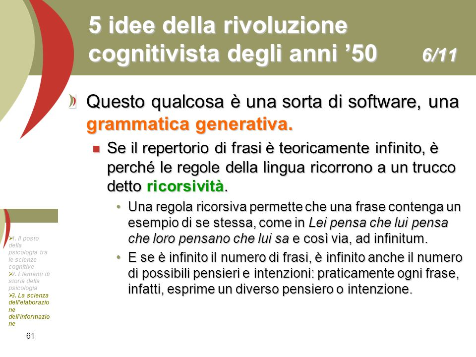 61 5 idee della rivoluzione cognitivista degli anni 50 6/11 Questo qualcosa è una sorta di software, una grammatica generativa. Se il repertorio di fr
