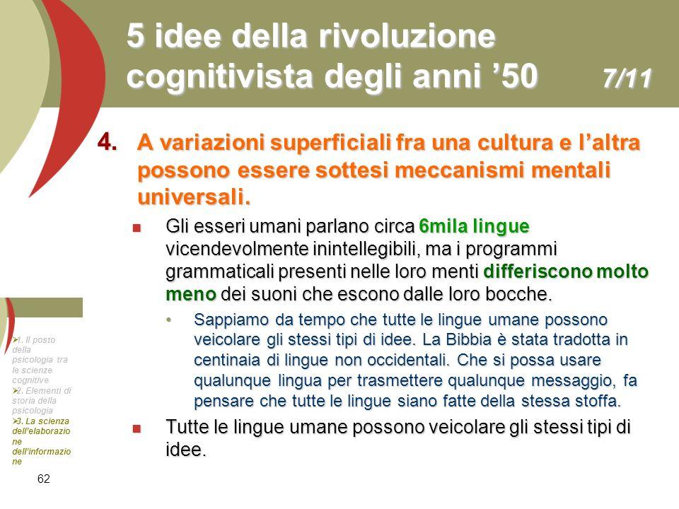 62 5 idee della rivoluzione cognitivista degli anni 50 7/11 4. A variazioni superficiali fra una cultura e laltra possono essere sottesi meccanismi me