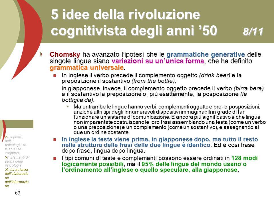 63 5 idee della rivoluzione cognitivista degli anni 50 8/11 Chomsky ha avanzato lipotesi che le grammatiche generative delle singole lingue siano vari