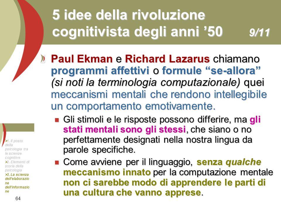 64 5 idee della rivoluzione cognitivista degli anni 50 9/11 Paul Ekman e Richard Lazarus chiamano programmi affettivi o formule se-allora (si noti la