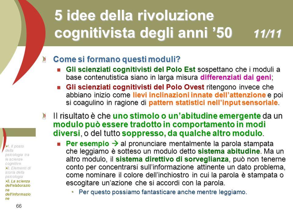 66 5 idee della rivoluzione cognitivista degli anni 50 11/11 Come si formano questi moduli? Gli scienziati cognitivisti del Polo Est sospettano che i
