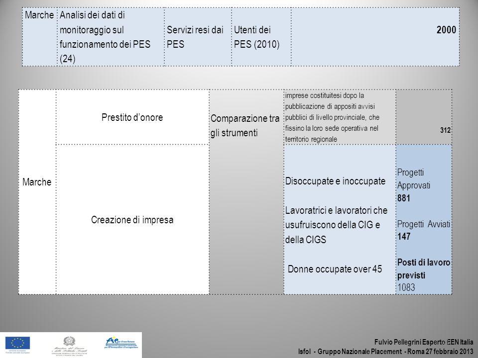 Fulvio Pellegrini Esperto EEN Italia Isfol - Gruppo Nazionale Placement - Roma 27 febbraio 2013 11 MarcheAnalisi dei dati di monitoraggio sul funziona