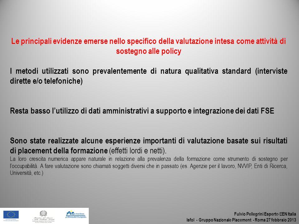 Fulvio Pellegrini Esperto EEN Italia Isfol - Gruppo Nazionale Placement - Roma 27 febbraio 2013 19 Le principali evidenze emerse nello specifico della