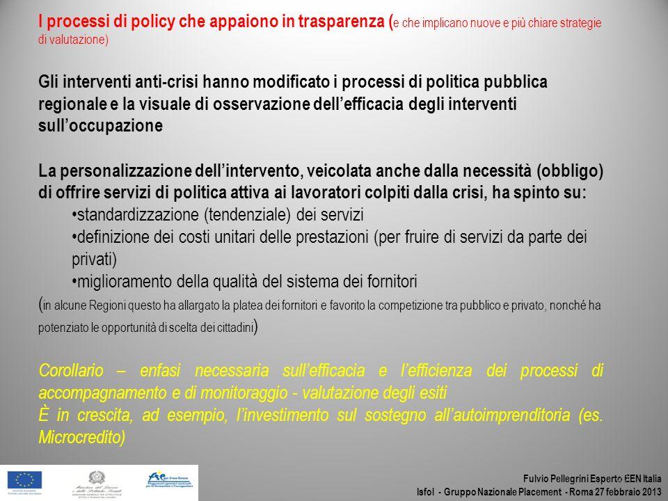 Fulvio Pellegrini Esperto EEN Italia Isfol - Gruppo Nazionale Placement - Roma 27 febbraio 2013 20 I processi di policy che appaiono in trasparenza (