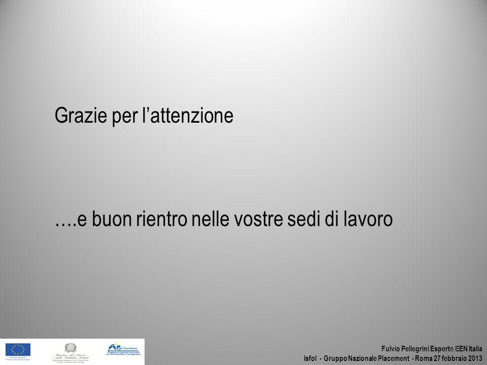 Fulvio Pellegrini Esperto EEN Italia Isfol - Gruppo Nazionale Placement - Roma 27 febbraio 2013 25 Grazie per lattenzione ….e buon rientro nelle vostr