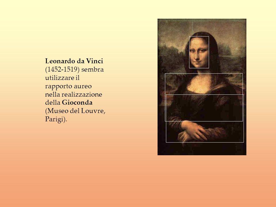 Leonardo da Vinci (1452-1519) sembra utilizzare il rapporto aureo nella realizzazione della Gioconda (Museo del Louvre, Parigi).
