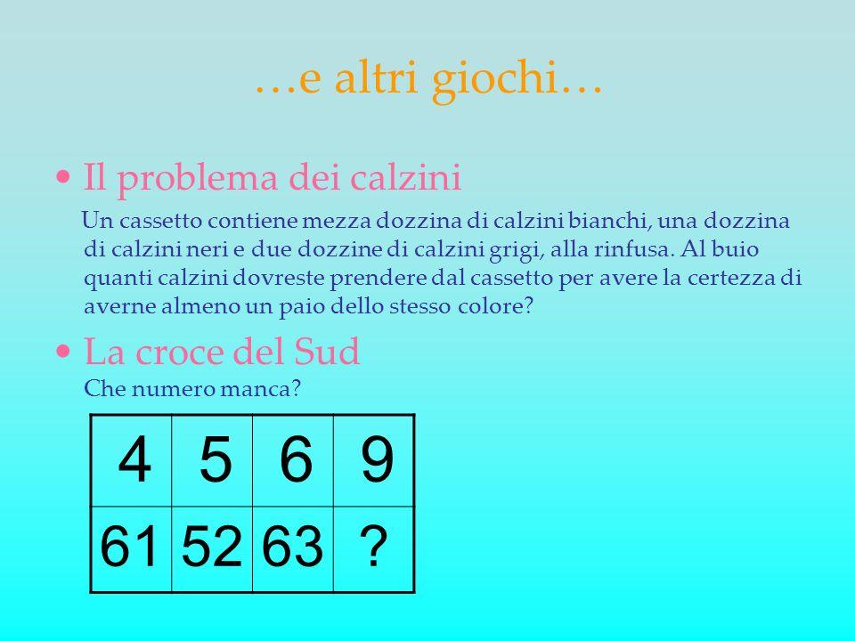 …e altri giochi… Il problema dei calzini Un cassetto contiene mezza dozzina di calzini bianchi, una dozzina di calzini neri e due dozzine di calzini g