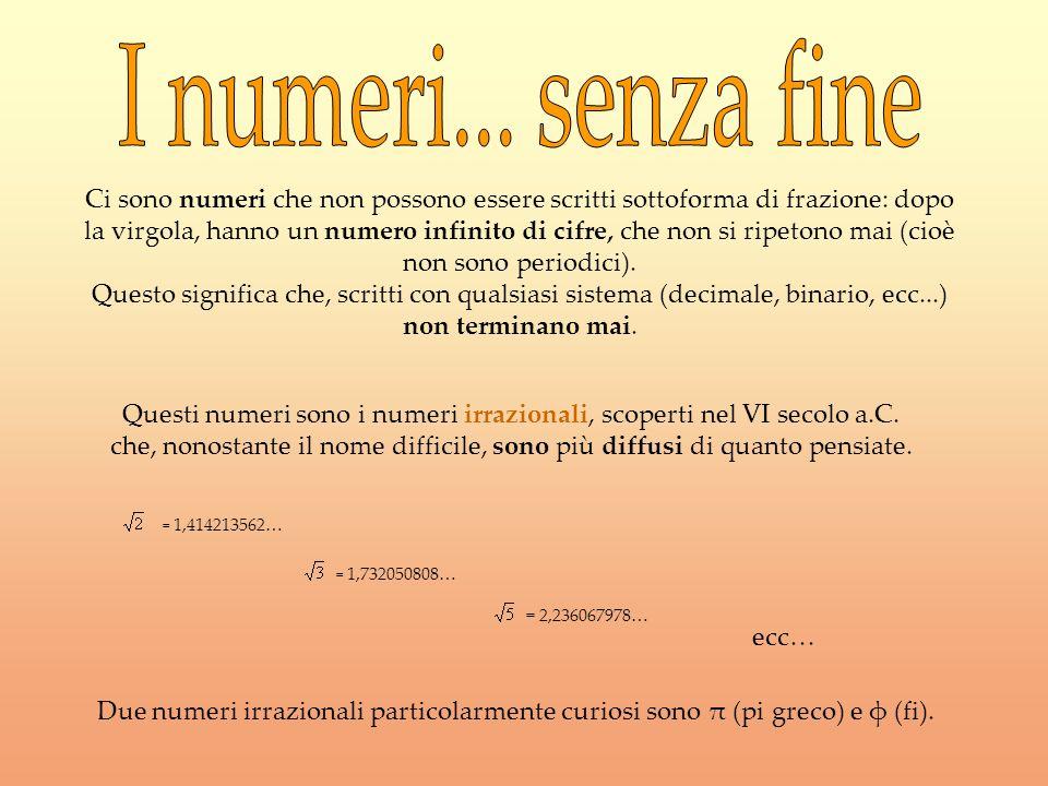 Ci sono numeri che non possono essere scritti sottoforma di frazione: dopo la virgola, hanno un numero infinito di cifre, che non si ripetono mai (cio