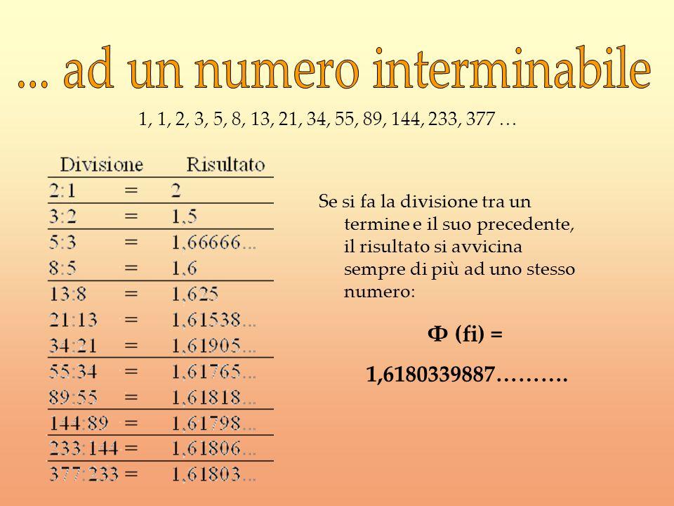 Se si fa la divisione tra un termine e il suo precedente, il risultato si avvicina sempre di più ad uno stesso numero: 1, 1, 2, 3, 5, 8, 13, 21, 34, 5