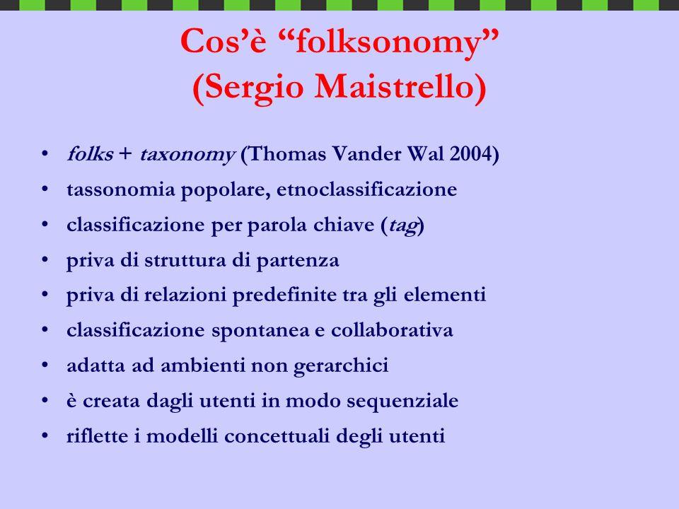 Cosè folksonomy (Sergio Maistrello) folks + taxonomy (Thomas Vander Wal 2004) tassonomia popolare, etnoclassificazione classificazione per parola chia
