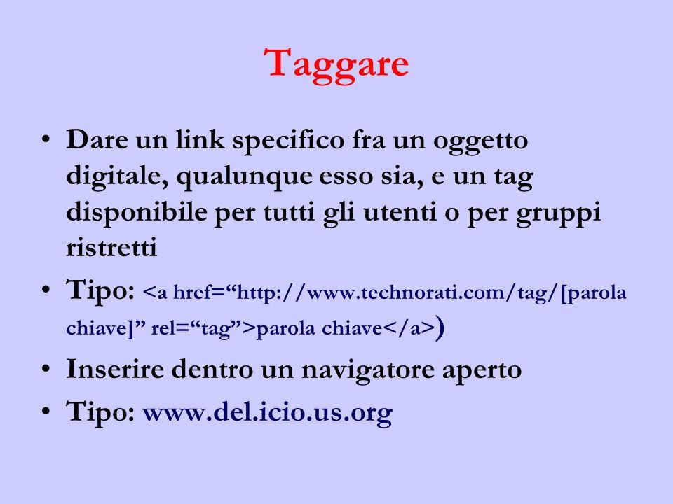 Taggare Dare un link specifico fra un oggetto digitale, qualunque esso sia, e un tag disponibile per tutti gli utenti o per gruppi ristretti Tipo: parola chiave ) Inserire dentro un navigatore aperto Tipo: www.del.icio.us.org