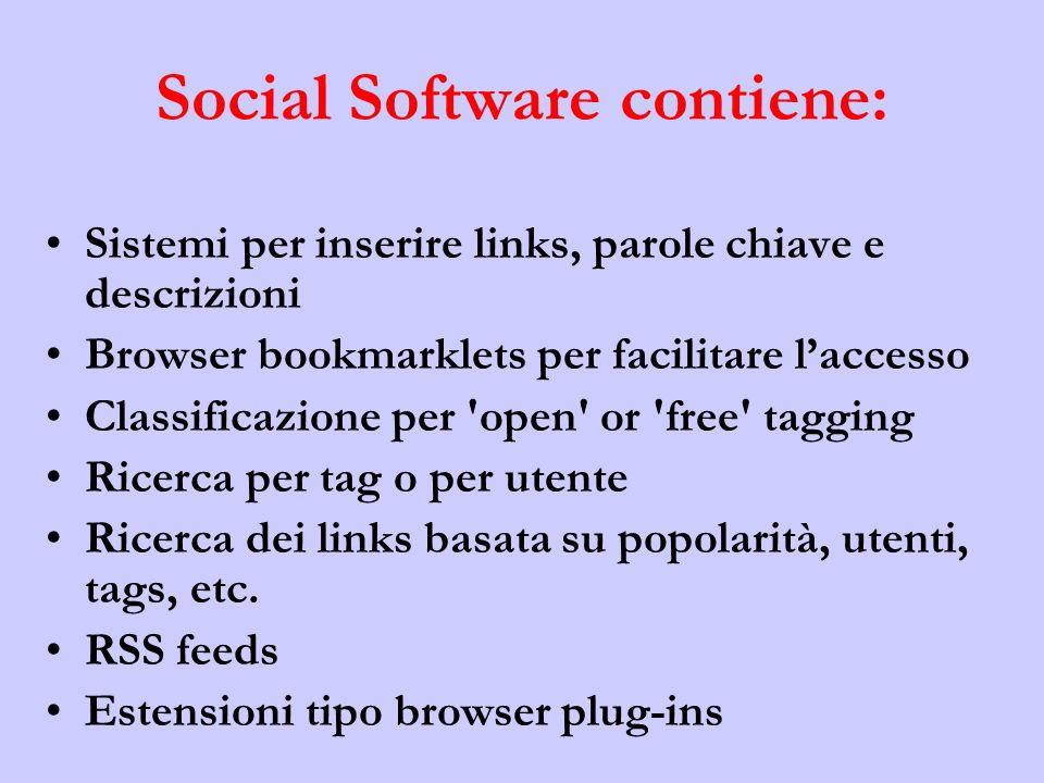 Social Software contiene: Sistemi per inserire links, parole chiave e descrizioni Browser bookmarklets per facilitare laccesso Classificazione per open or free tagging Ricerca per tag o per utente Ricerca dei links basata su popolarità, utenti, tags, etc.
