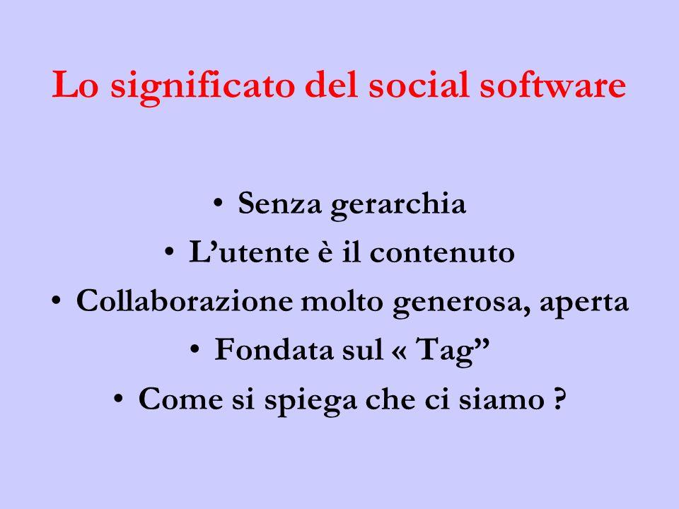 Lo significato del social software Senza gerarchia Lutente è il contenuto Collaborazione molto generosa, aperta Fondata sul « Tag Come si spiega che ci siamo ?
