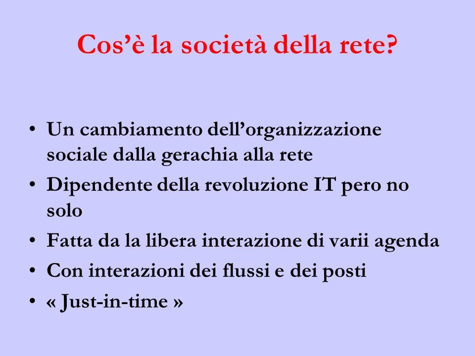 Cosè la società della rete? Un cambiamento dellorganizzazione sociale dalla gerachia alla rete Dipendente della revoluzione IT pero no solo Fatta da l