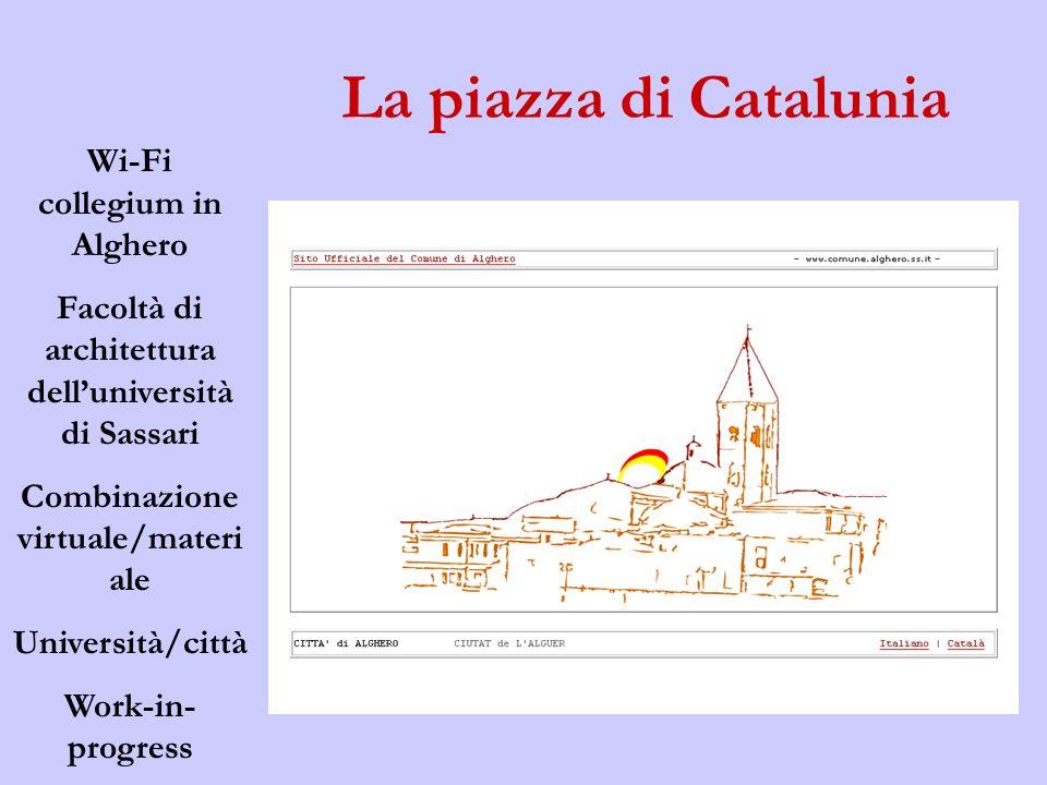 La piazza di Catalunia Wi-Fi collegium in Alghero Facoltà di architettura delluniversità di Sassari Combinazione virtuale/materi ale Università/città Work-in- progress