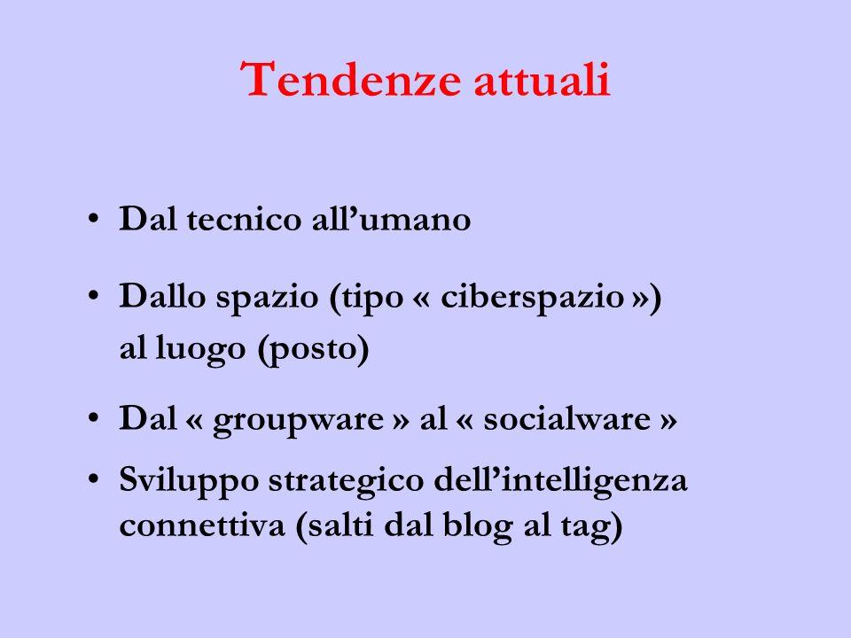 Tendenze attuali Dal tecnico allumano Dallo spazio (tipo « ciberspazio ») al luogo (posto) Dal « groupware » al « socialware » Sviluppo strategico dellintelligenza connettiva (salti dal blog al tag)