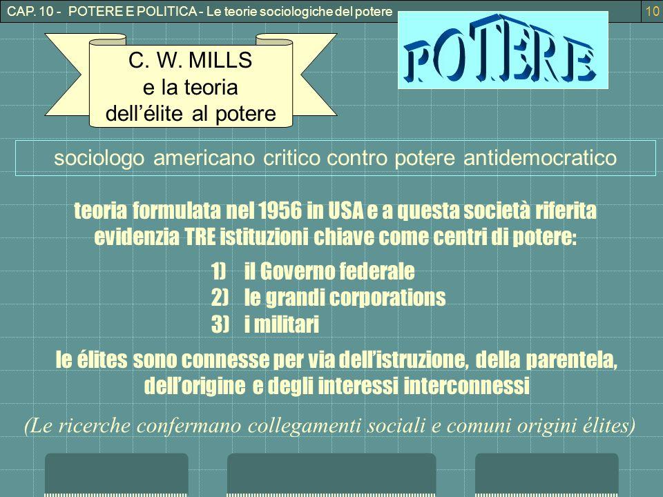 CAP.10 - POTERE E POLITICA - Le teorie sociologiche del potere10 C.