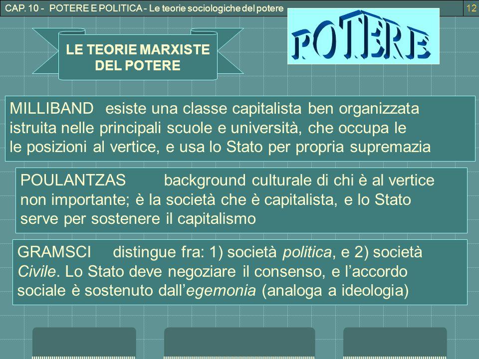 CAP. 10 - POTERE E POLITICA - Le teorie sociologiche del potere12 LE TEORIE MARXISTE DEL POTERE MILLIBANDesiste una classe capitalista ben organizzata