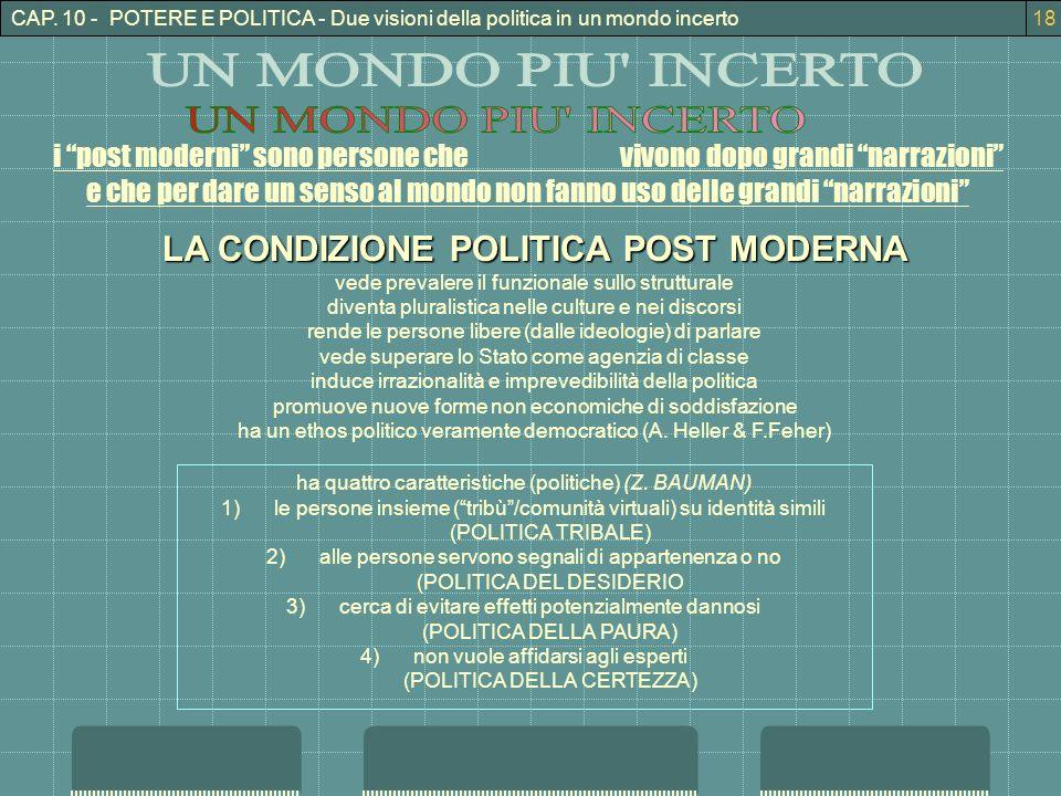 CAP. 10 - POTERE E POLITICA - Due visioni della politica in un mondo incerto18 i post moderni sono persone che vivono dopo grandi narrazioni e che per