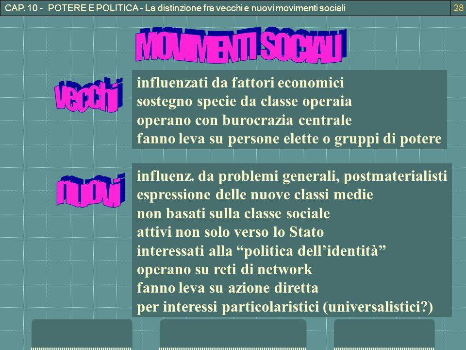 CAP. 10 - POTERE E POLITICA - La distinzione fra vecchi e nuovi movimenti sociali28 influenzati da fattori economici sostegno specie da classe operaia