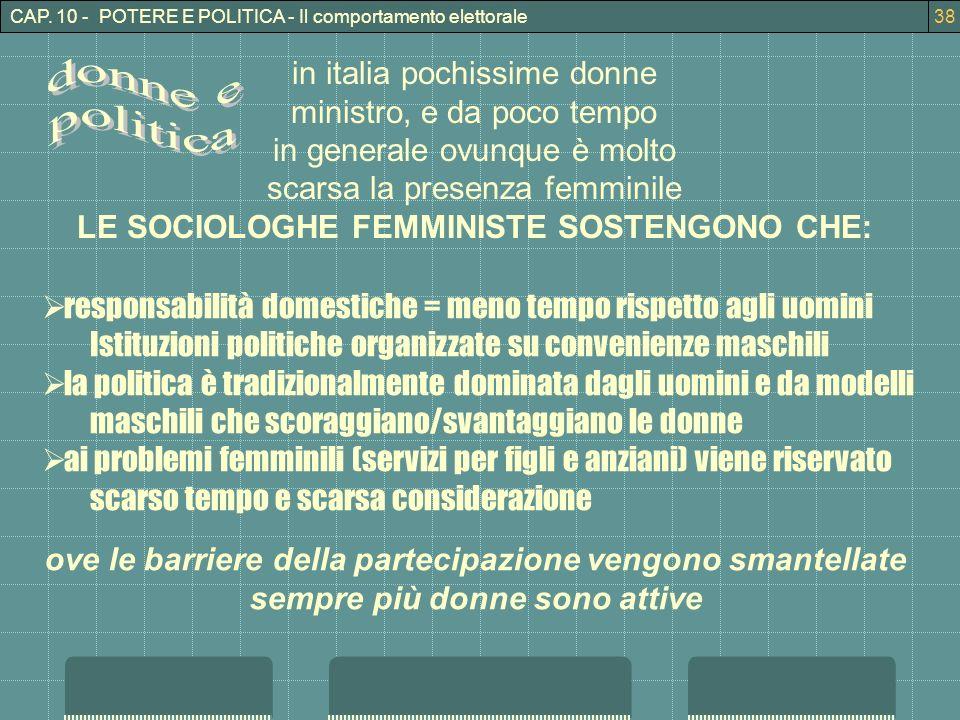 CAP. 10 - POTERE E POLITICA - Il comportamento elettorale38 in italia pochissime donne ministro, e da poco tempo in generale ovunque è molto scarsa la