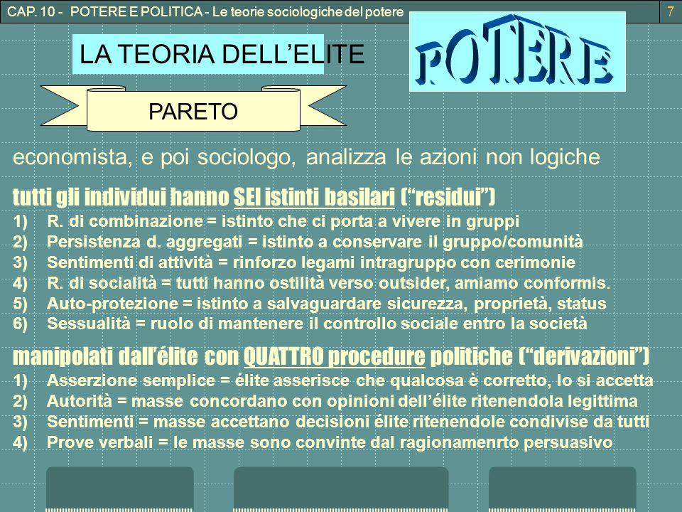 CAP. 10 - POTERE E POLITICA - Le teorie sociologiche del potere7 LA TEORIA DELLELITE PARETO economista, e poi sociologo, analizza le azioni non logich