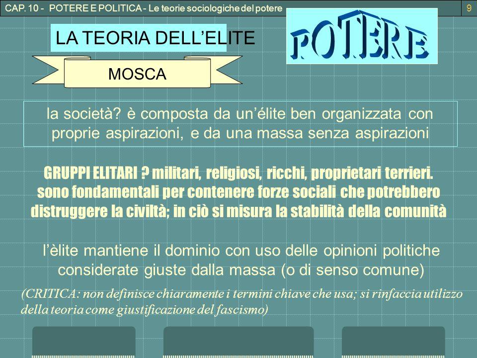 CAP. 10 - POTERE E POLITICA - Le teorie sociologiche del potere9 LA TEORIA DELLELITE MOSCA la società? è composta da unélite ben organizzata con propr