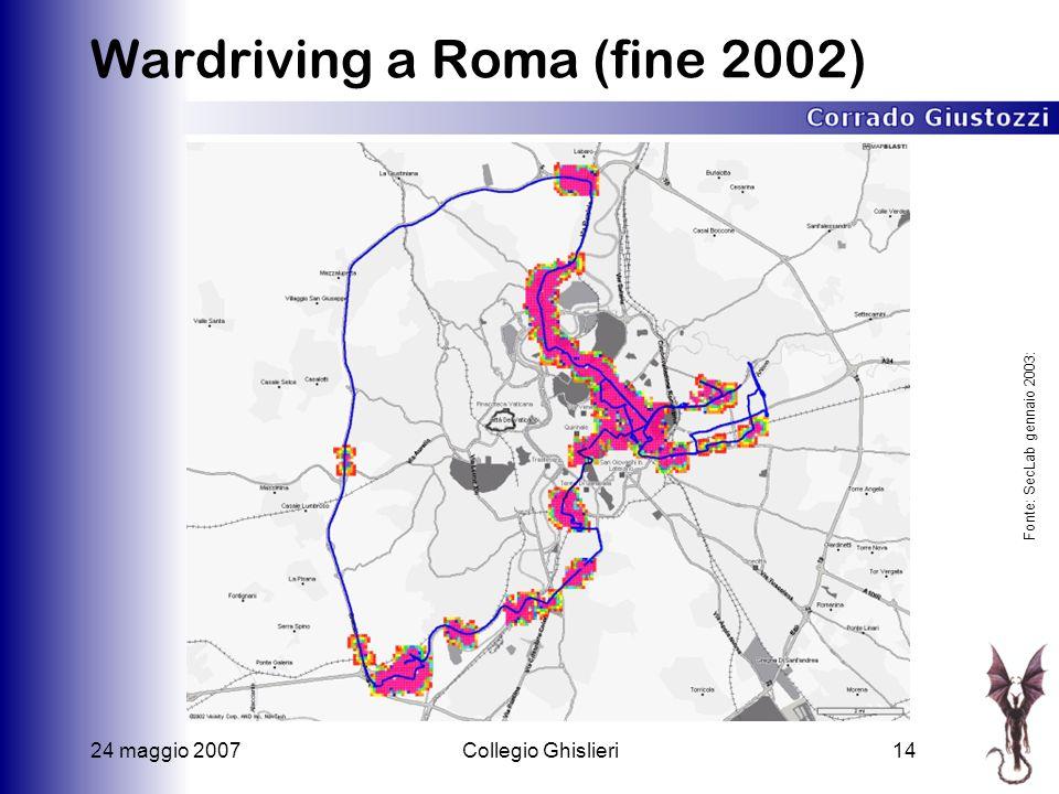 24 maggio 2007Collegio Ghislieri14 Wardriving a Roma (fine 2002) Fonte: SecLab gennaio 2003: