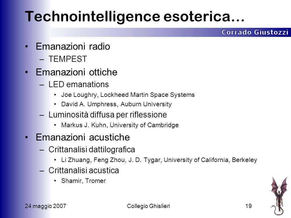 24 maggio 2007Collegio Ghislieri19 Technointelligence esoterica… Emanazioni radio –TEMPEST Emanazioni ottiche –LED emanations Joe Loughry, Lockheed Martin Space Systems David A.