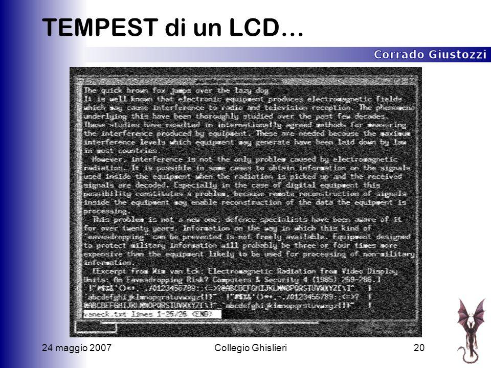 24 maggio 2007Collegio Ghislieri20 TEMPEST di un LCD…