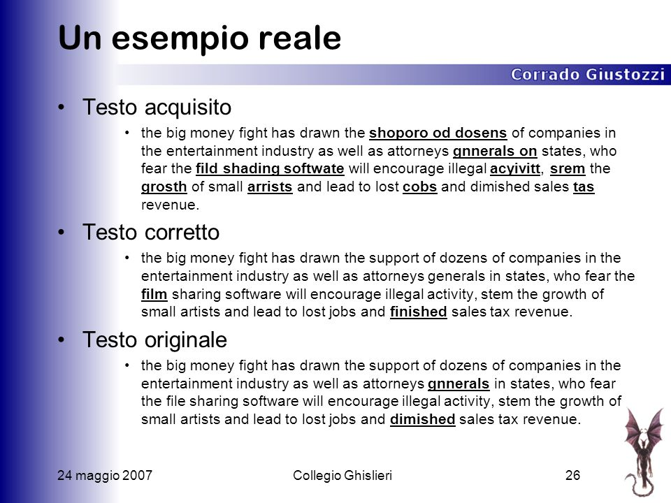 24 maggio 2007Collegio Ghislieri26 Un esempio reale Testo acquisito the big money fight has drawn the shoporo od dosens of companies in the entertainm