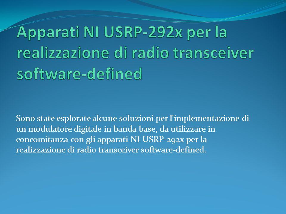 Sono state esplorate alcune soluzioni per l implementazione di un modulatore digitale in banda base, da utilizzare in concomitanza con gli apparati NI USRP-292x per la realizzazione di radio transceiver software-defined.
