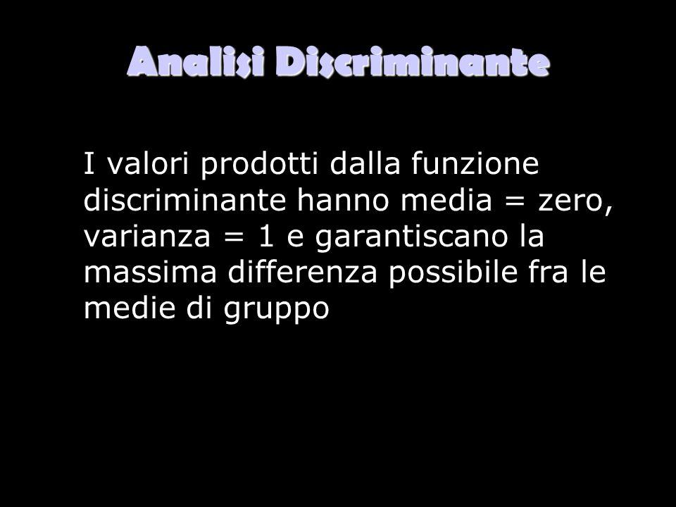 Analisi Discriminante I valori prodotti dalla funzione discriminante hanno media = zero, varianza = 1 e garantiscano la massima differenza possibile f