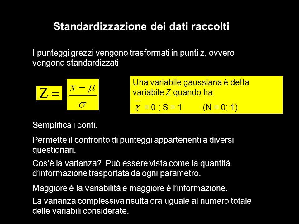 I punteggi grezzi vengono trasformati in punti z, ovvero vengono standardizzati Standardizzazione dei dati raccolti Una variabile gaussiana è detta va