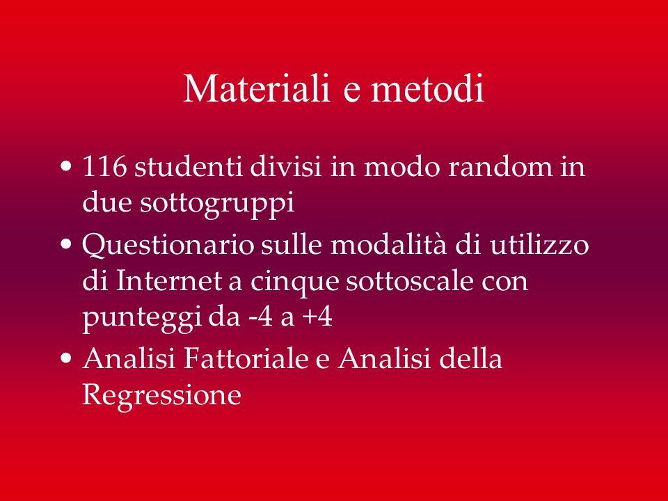 Materiali e metodi 116 studenti divisi in modo random in due sottogruppi Questionario sulle modalità di utilizzo di Internet a cinque sottoscale con p